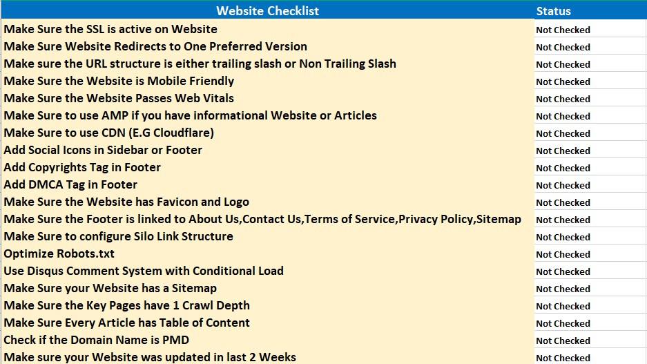 Website Authority Checklist